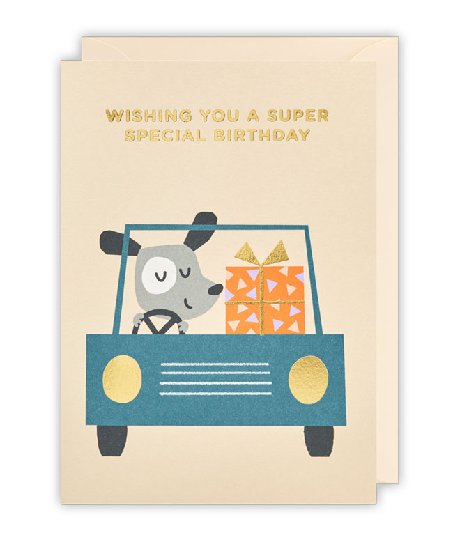 Driving Dog Birthday Card by Ekaterina Trukhan for Lagom