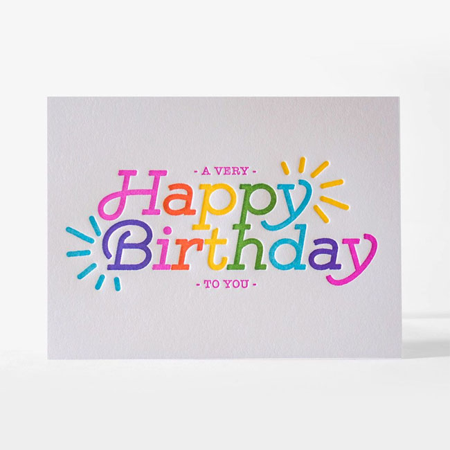 Super Electric Happy Birthday Card from Elum #letterpress