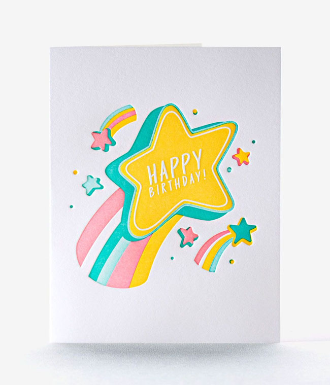 Reach for the Stars Happy Birthday Card from Elum #letterpress