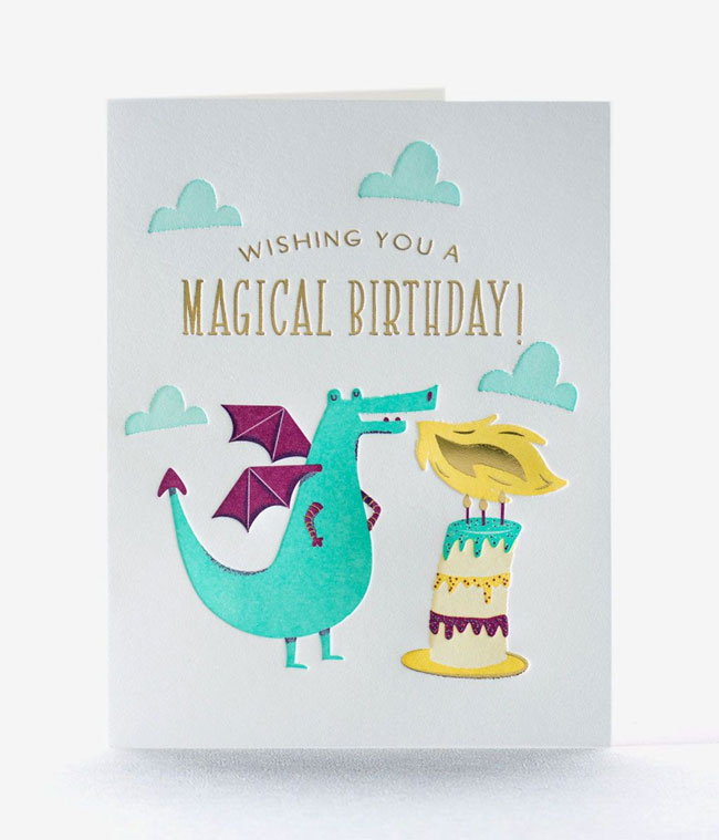 Dragon Candle Happy Birthday Card from Elum #letterpress
