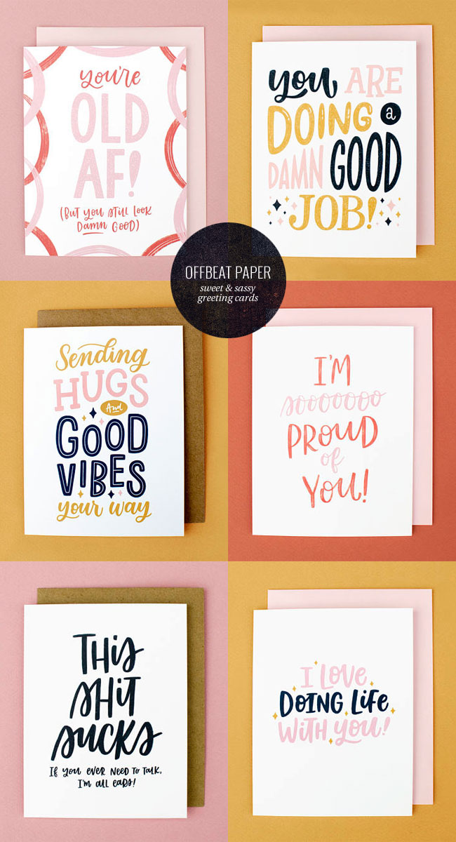 Sweet & Sassy Hand Lettered Greeting Cards from Offbeat Paper Co.