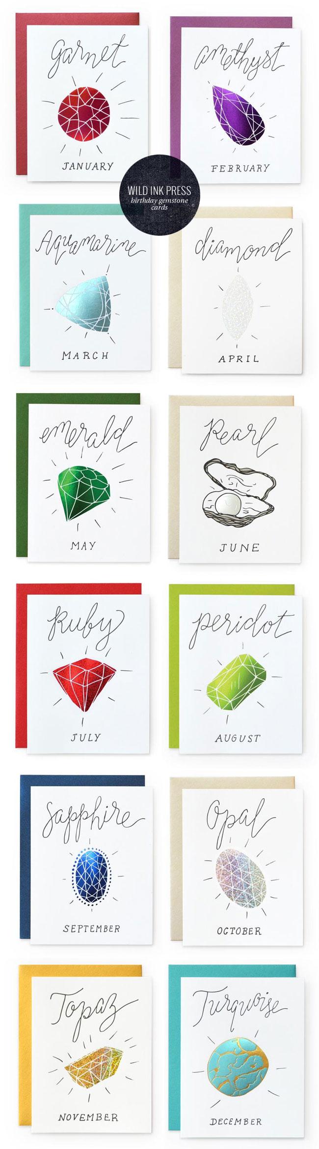 Foil Birthday Gemstone Cards by Wild Ink Press #birthday