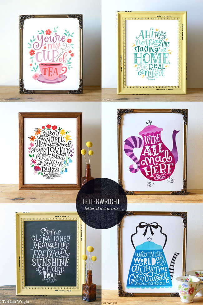 Happy Hand Lettered Literature Quotes Art Prints from Letterwright
