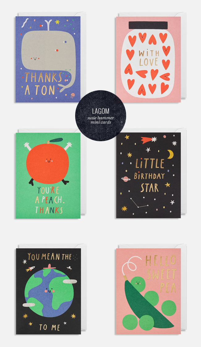Super Cute Greeting Cards by Susie Hammer for Lagom #greetingcards #foilstamping