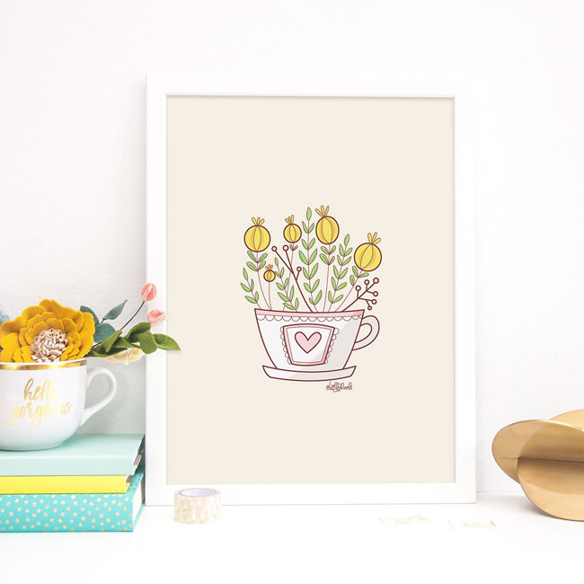Teacup Floral Art Print by Holly Pixels #wallart