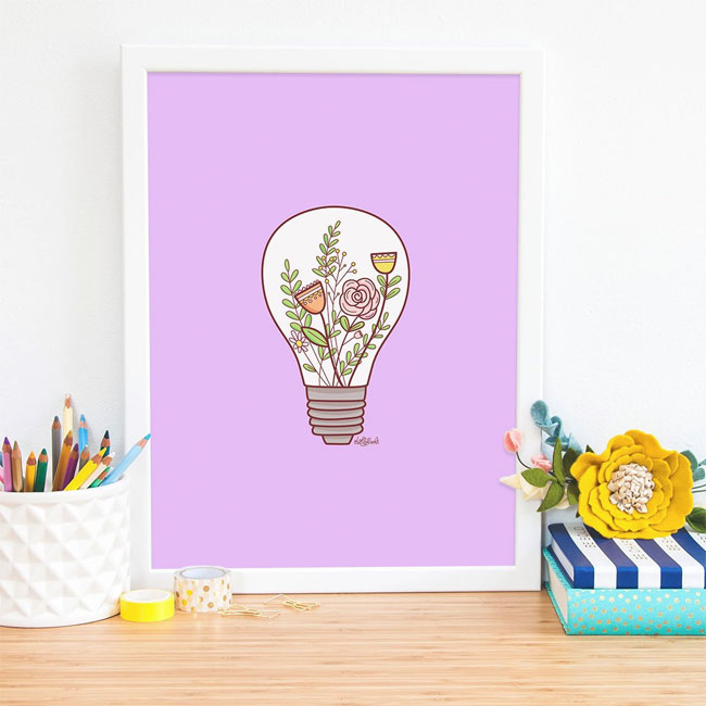 Lightbulb Floral Art Print by Holly Pixels #wallart