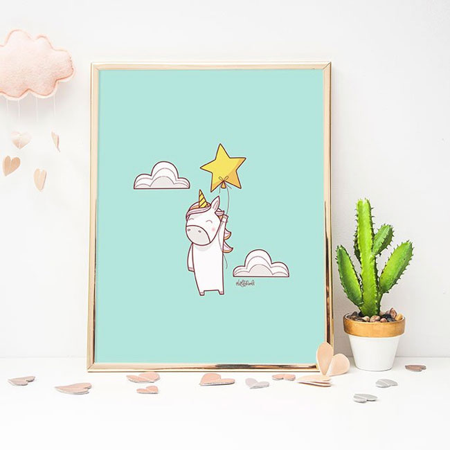Unicorn Art Print by Holly Pixels #wallart