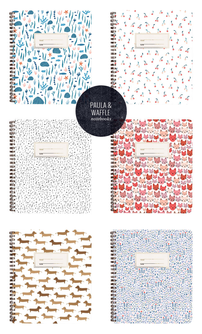 Spiral Bound Patterned Notebooks by Paula & Waffle #notebook