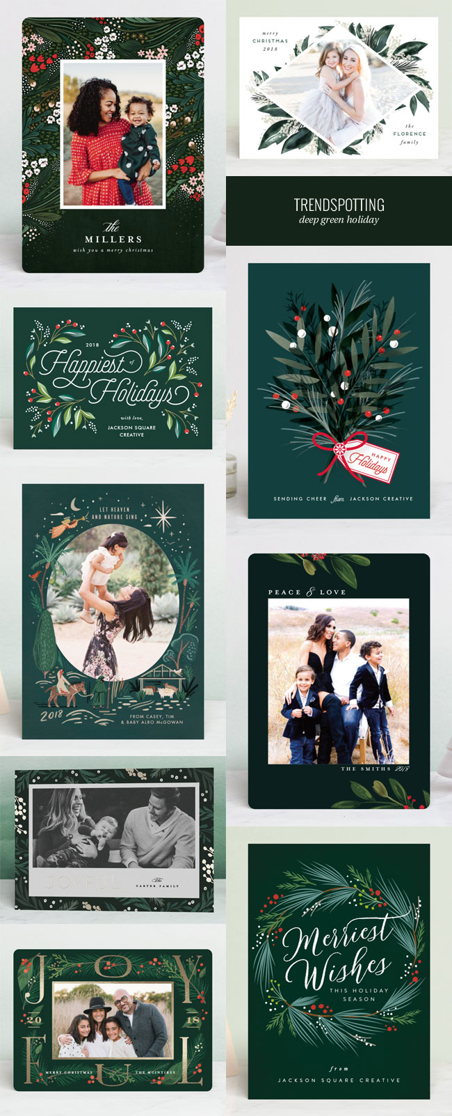 Trending : Deep Green Botanicals for Holiday / Holiday Card Design Ideas #holidaycards