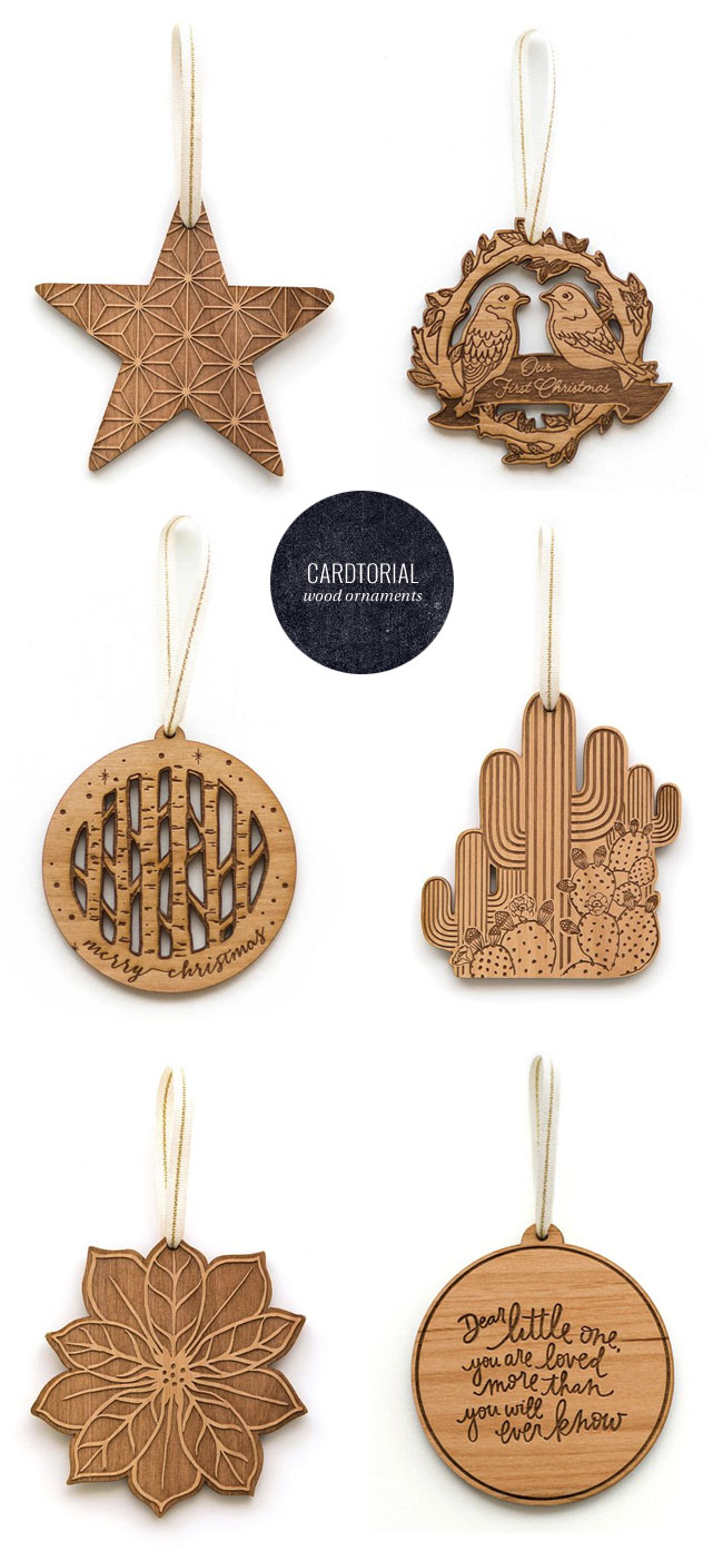 Laser Cut Wood Christmas Ornaments from Cardtorial